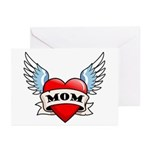 Mom Tattoo Winged Heart Greeting Cards (Pk of 10)