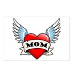 Mom Tattoo Winged Heart Postcards (Package of 8)