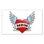 Mom Tattoo Winged Heart Rectangle Sticker