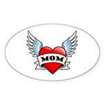 Mom Tattoo Winged Heart Oval Sticker (10 pk)