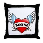 Mom Tattoo Winged Heart Throw Pillow