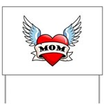 Mom Tattoo Winged Heart Yard Sign