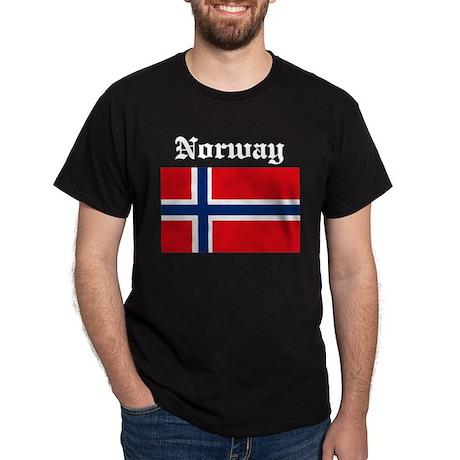 Norwegian Flag Black T-Shirt