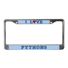 I Love Heart Pythons License Plate Frame