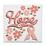 Hope Pink Ribbon Tile Coaster