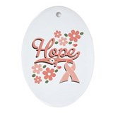 Hope Pink Ribbon Oval Ornament