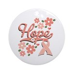 Hope Pink Ribbon Ornament (Round)