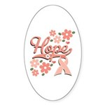 Hope Pink Ribbon Oval Sticker (50 pk)