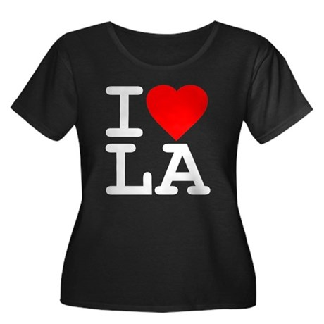 I Love LA Womens Plus Size Scoop Neck Dark T-Shir