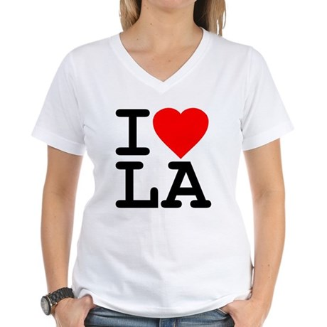 I Love LA Womens V-Neck T-Shirt