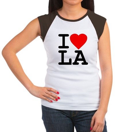 I Love LA Womens Cap Sleeve T-Shirt