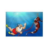 Scuba Santa & Seahorse Reindeer Rectangle Magn