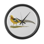 Yellow Golden Pheasant Large Wall Clock