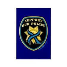 Thin Blue Line Support Police Rectangle Magnet (10