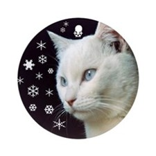 White Cat & Snowflakes Ornament