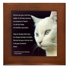 White Cat Blessing Framed Tile