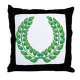Green Laurel on White Throw Pillow