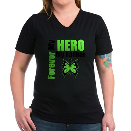 Lymphoma Hero Father Women's V-Neck Dark T-Shirt