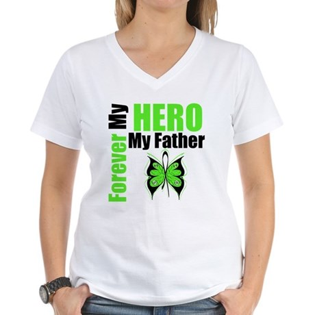 Lymphoma Hero Father Women's V-Neck T-Shirt