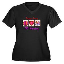OB Nurse Women's Plus Size V-Neck Dark T-Shirt