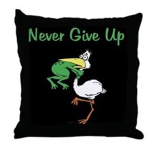 Never Give Up Stork and Frog Throw Pillow