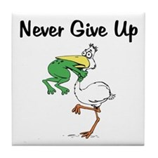 Never Give Up Stork and Frog Tile Coaster