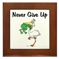 Never Give Up Stork and Frog Framed Tile