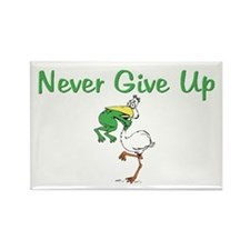 Never Give Up Stork and Frog Rectangle Magnet