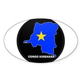 Flag Map of CONGO KINSHASA Oval Decal