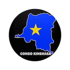 """Flag Map of CONGO KINSHASA 3.5"""" Button"""
