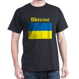 Ukraine Flag Black T-Shirt