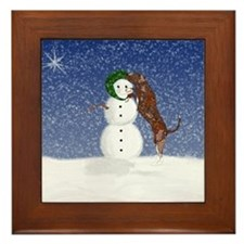 Catahoula Dog and Snowman Framed Tile