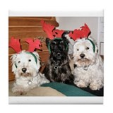Cred Crit Westie &amp; Scottie Christmas Tile Coaster