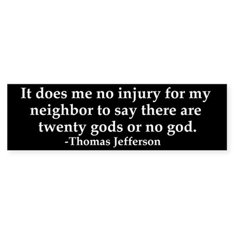 Jefferson religious tolerence bumper sticker