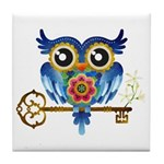 Owl on Skeleton Key Tile Coaster