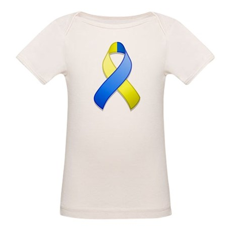 Blue and Yellow Awareness Ribbon Organic Baby T-Sh