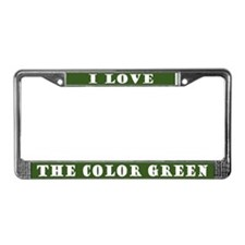 I Love Color Green License Plate Frame