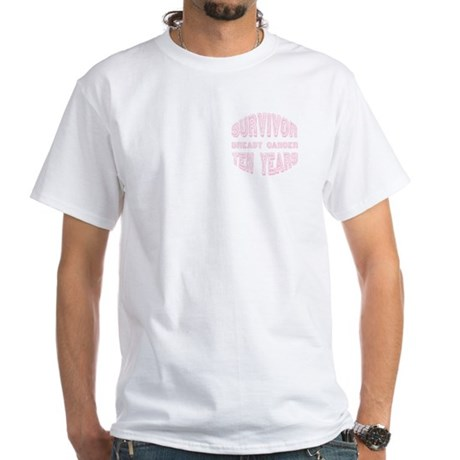 Two Sides Printed Design White T-Shirt