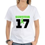 Lymphoma Survivor 17Year Women's V-Neck T-Shirt