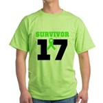 Lymphoma Survivor 17Year Green T-Shirt