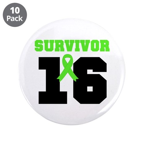 "Lymphoma Survivor 16 Year 3.5"" Button (10 pack)"