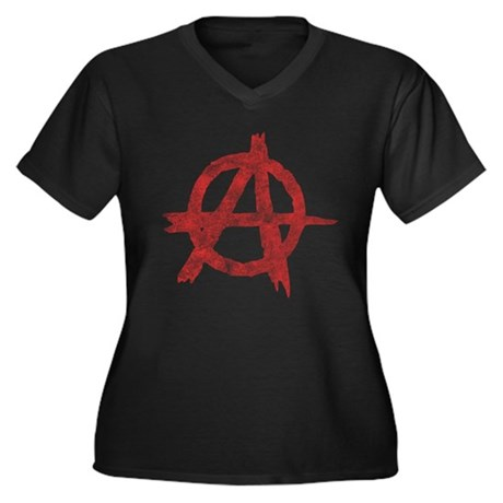Vintage Anarachy Symbol Womens Plus Size V-Neck D