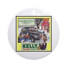 """1944 Kelly Tire Ad"" Ornament (Round)"