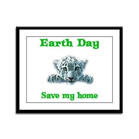 Earth Day Leopard Cub Framed Panel Print