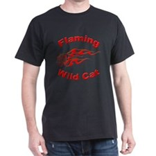 Flaming Wild Cat (Front) Black T-Shirt