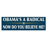 Obama's a Radical - Now Do You Believe Me? Bumper Sticker