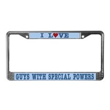 Love Guys with Special Powers License Plate Frame