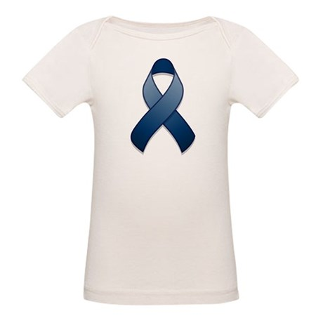 Dark Blue Awareness Ribbon Organic Baby T-Shirt