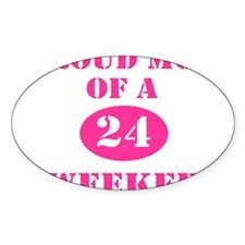 Proud Mom 24 Weeker Oval Sticker (10 pk)