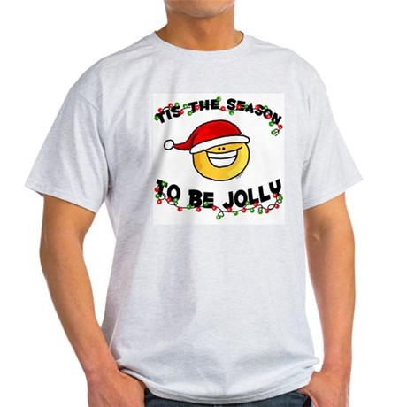Jolly Christmas Santa Smiley Ash Grey T-Shirt